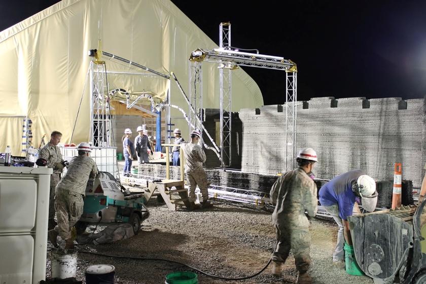 Marines use a 3D printer to build barracks.