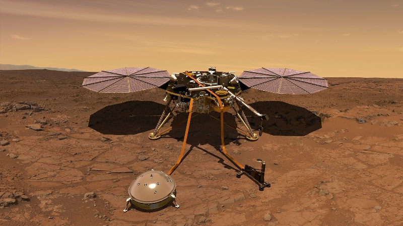 Artist depiction of NASA's Insight lander on the surface of Mars.