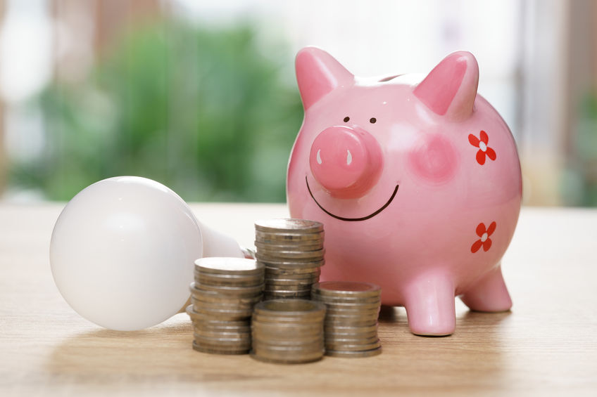 A piggy bank and light bulb symbolize how you could save money on your electric bill.