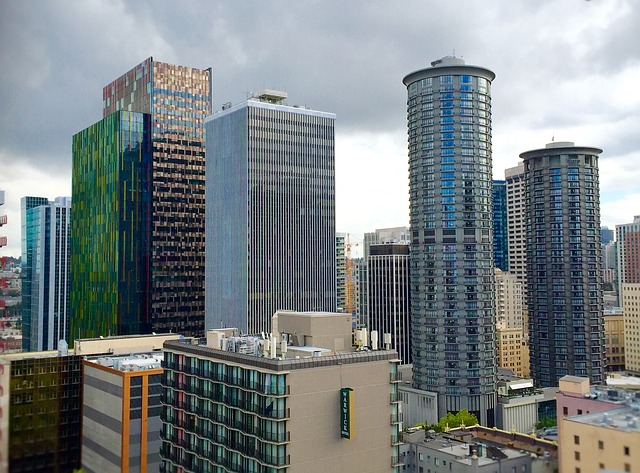 View of downtown Seattle where Amazon will include a homeless shelter in its newest building.
